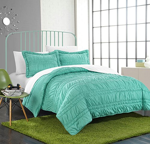Turquoise Ruffled (Chic Home 2 Piece Dreamer Super Soft Microfiber Pleated Ruffled Technique Quilt Set, Twin, Turquoise)