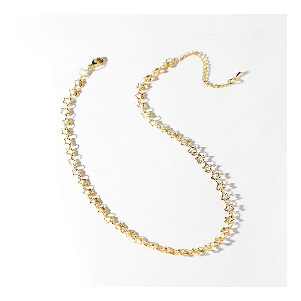 ZUXIANWANGガールネックレス中空スター短鎖骨チェーンミニマリストのファッションネックレスネックレス   B07KXMD176