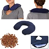 Microwavable Neck Heating Pad: Heat Therapy Pillow of Flax Seeds for Sore Neck & Shoulder Muscle Pain Relief - Personal, Reusable, Non Electric Deep Muscle Hot Pack Pads or Cold Compress Wraps - Blue