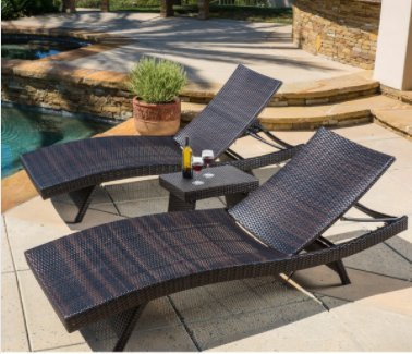 Chaise Lounge 3-piece Wicker Toscana Collection Adjustable Legs and Back, Brown Finish by Christopher Knight