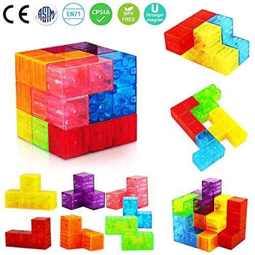 Aitey Magnetic Building Blocks, Magnetic Tiles for Kids Educational Toys Stress Relief Toy Games Square Magnets Cube Develops Intelligence