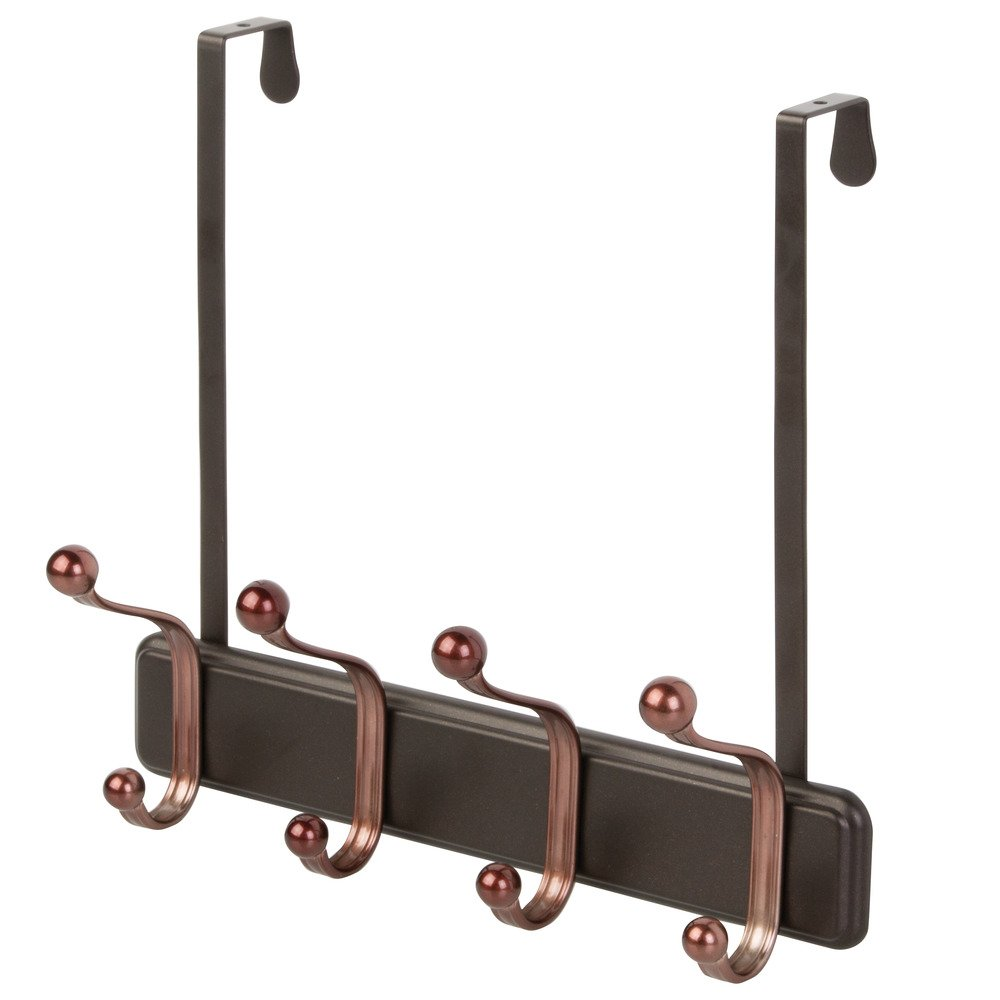 InterDesign York Over Door Storage Rack – Organizer Hooks for Coats, Hats, Robes, Clothes or Towels – 4 Dual Hooks, Two-Tone Bronze