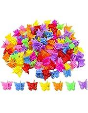 Set van 100 vlinderclips voor in het haar, meisjes en vrouwen, prachtige, kleine vlinderhaarclips, verschillende kleuren