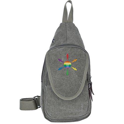 Carylon Standing People Unisex Outdoor Activities Chest Pack Backpack Sport Sling Hiking Shoulder Crossbody Backpack Rucksack Bag