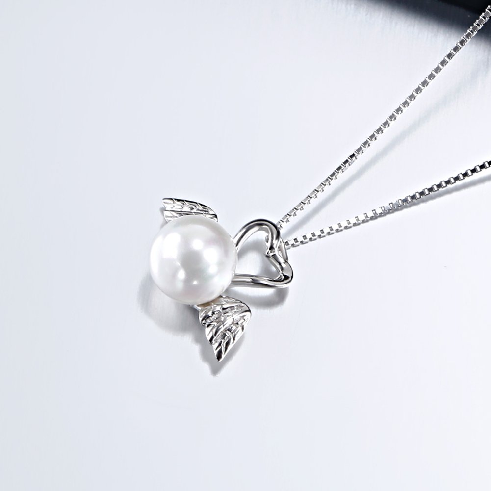 OUXi Sterling Silver Freshwater Look Pearl Pendant Necklace for Women