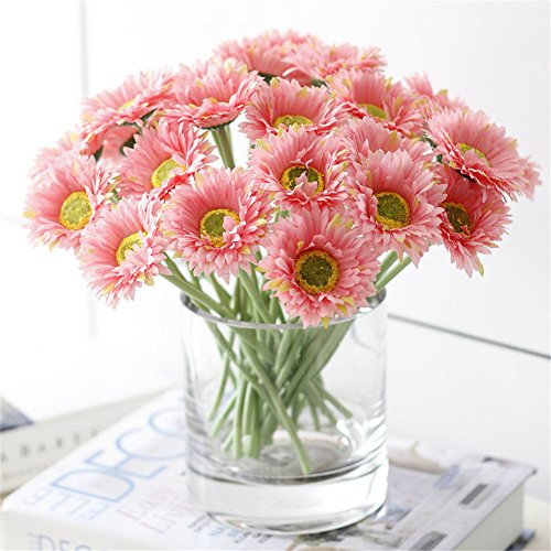 Crt Gucy Artificial Gerbera Flowers 10 Pcs Artificial African Daisy Simulation Chrysanthemum Sunflowers Bouquet For Home Hotel Office Wedding Party Garden Craft,Peach (Gerbera Daisies 20 Stems)