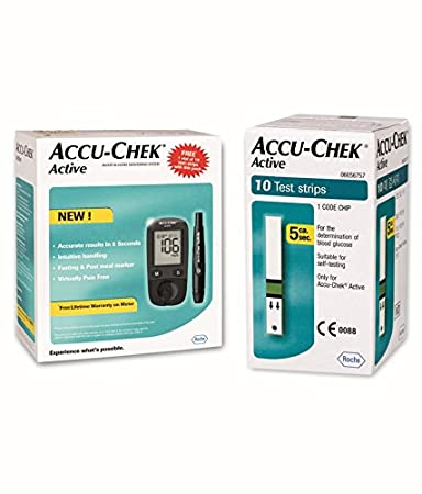 Free Blood Glucose Meter >> Accu Chek Active Blood Glucose Meter Kit Vial Of 10 Strips Free Multicolor
