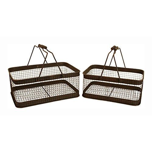 Wald Imports Brown Wash Metal  Industrial Decorative Storage Basket, Set of 2
