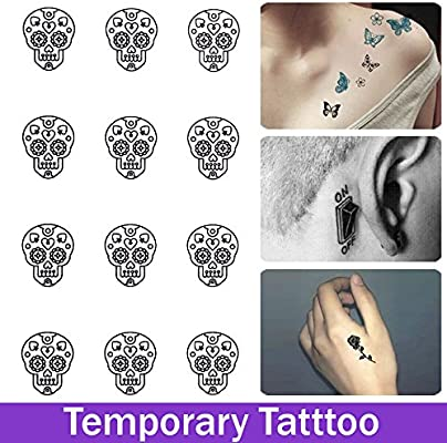 rexul (TM) Mini Pegatinas de Tatuaje impermeable de Cráneo de ...