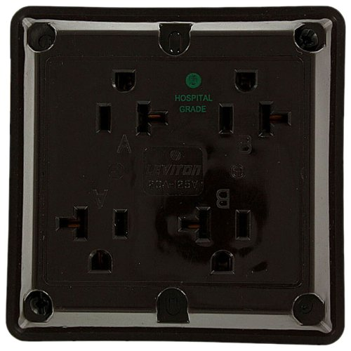 Leviton 21254-H 20 Amp, 125 Volt, Industrial Series Extra Heavy Duty Hospital Grade, 4-In-1 Receptacle, Straight Blade, Grounding, Brown