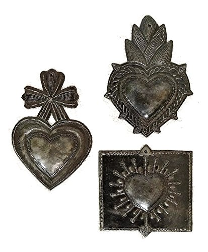 Cheap it's cactus – metal art haiti Beautiful Milagro Hearts (set of 3) Handmade charms from Haiti, 6″
