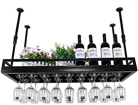 Longxs Estantes Colgantes de Vino Bar estantes de Copa de Vino Copa Creativa Estante de Barra mostrador Boca Abajo Percha Copa de Vino Tinto portavasos-L50W35cm Negro