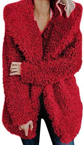 Clearance Sunfei Warm Wool Pullover Fuzzy Fleece Sweatshirt Oversized Hoodie with Pockets Zipper Coat Outwear
