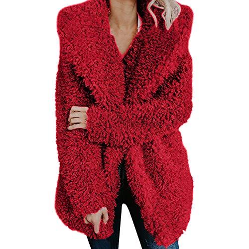 Caopixx Women Winter Warm Fuzzy Long Sleeve Lapel Faux Fur Shaggy Jacket Coat Outerwear Overcoat