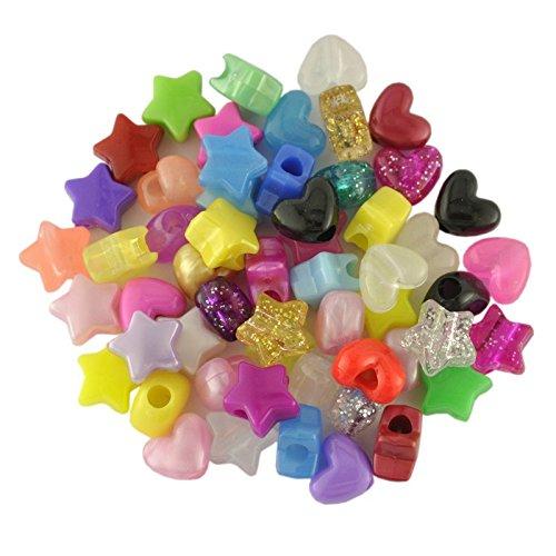 Plastic Beads Lot de 100perles en plastique forme cœur et étoile