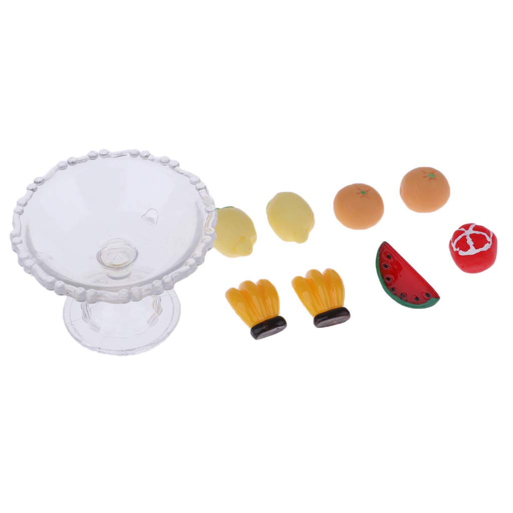 9Pcs Kitchen Food Set Plastic Fruit and Plate Model Dollhouse Miniature 1//12