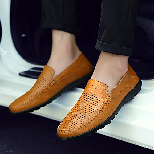 Abby A118 Mens Leather Leisure Cozy Slip On Driving Breathable Holes Sneakers Yellow 5D2pf