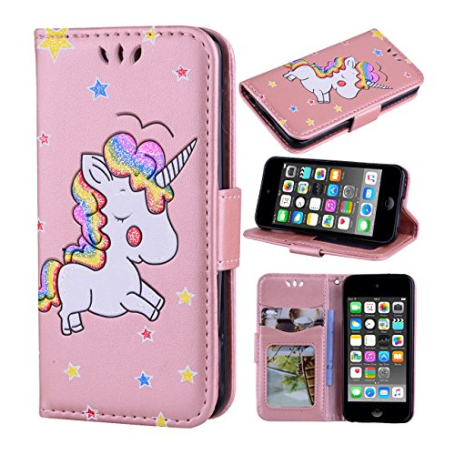 iPod Touch 6 Case, iPod Touch 5 Case, Ranyi [3D Glitter Unicorn Embossed] [Flip Magnetic Wallet] [3 Card Slot] Cute Bling PU Leather Folio Wallet Case for Apple iPod Touch 5 6th Generation (rose gold)