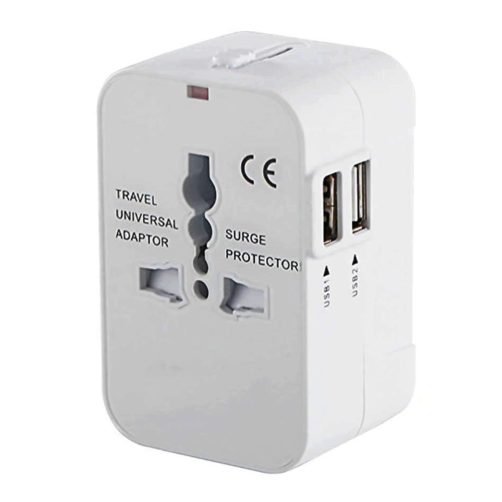Worldwide Travel Adapter, International All in One Universal Power Adaptor, High Speed 2.1A Dual USB Charging Ports Wall Plug Charger for USA EU UK AUS Asia and Cell Phone Laptop (White)