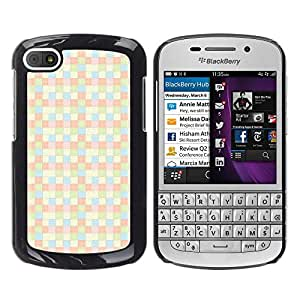 MOBMART Carcasa Funda Case Cover Armor Shell PARA BlackBerry Q10 - Shades Of Yellow Checkered Pattern