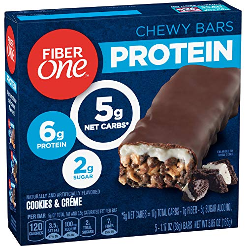 Fiber One Protein Bar, Cookies & Crème Chewy Bars, 6g Protein, Snacks, 5 ct.