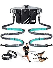 SHINE HAI Retractable Hands Free Dog Leash with Dual Bungees for Dogs up to 150lbs