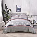 Heaven home textile 100% Cotton 3pcs Duvet Cover Set(1×Duvet Cover+2×Pillow Shams)-North American Fashion Style Striped Printed-Comfortable, Soft, Breathable and Extremely Durable.(King)