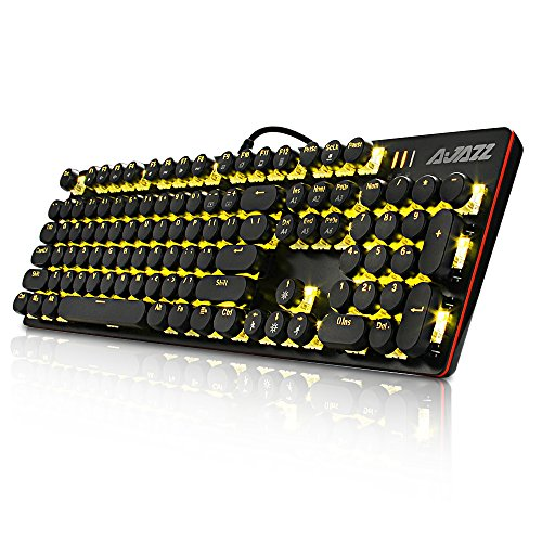 Mechanical Gaming Keyboard with Yellow LED Backlit Black Switch Round Keyboard, 104 Anti-Ghosting Standard Keys Retro Vintage - Round Typewriter