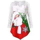 Franterd Christmas Shirt Women Xmas Santa Claus Backless Lace Sleeve Tunic Tops Pullover, Irregular Hem,L-5XL