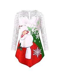 MeiYao Women's Christmas Dress, Santa Print Lace Top T-Shirt Long Sleeve Top