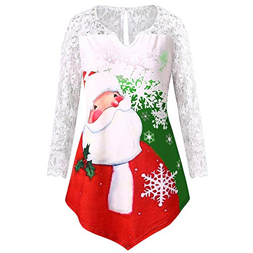 AmyDong Women Tops, Women Plus Size Christmas Santa Claus Print Lace Tunic Tee Shirt Long Sleeve Top