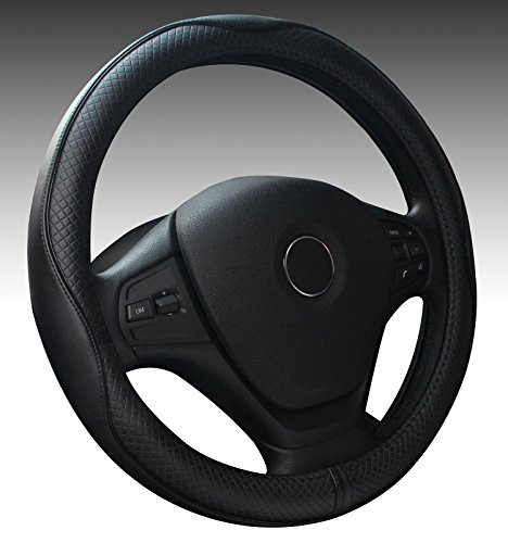 Genuine Leather Car Steering Wheel Cover 15 inch Universal Auto Interior Accessories Protector Anti-Slip Black (black) (Wrapped Wheel Leather Steering)