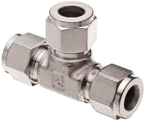 Parker A-Lok 6ET6-316 316 Stainless Steel Compression Tube Fitting, Tee, 3/8