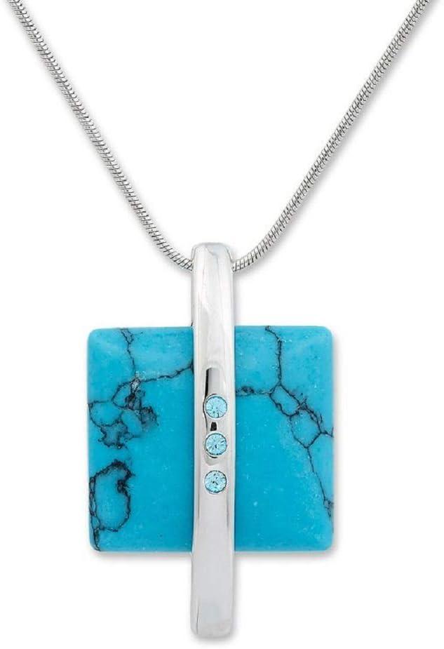 Collar de cadena con colgante piedra preciosa turquesa y con cristales Swarovski azul