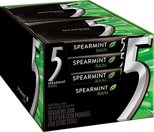 5 Gum Sugar Free Gum, RainSpearmint, 15 Piece Pack (10 Packs) by 5 Gum