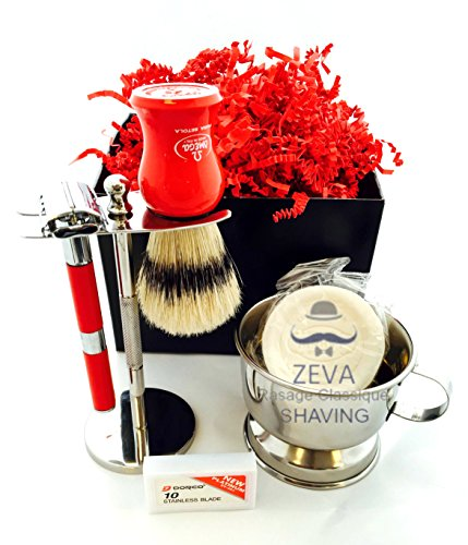 Men Grooming and Shaving kits Classic wet shave DE safety razor Omega Pure Bristle Shaving Brush Coveted holiday Gift