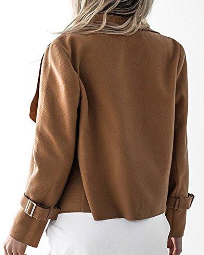 De Señoras Abrigo Chaqueta Occidental De Informal De Grande camello Sólido Escudo Mujer Estilo Solapa Color 1qwtxHqIA