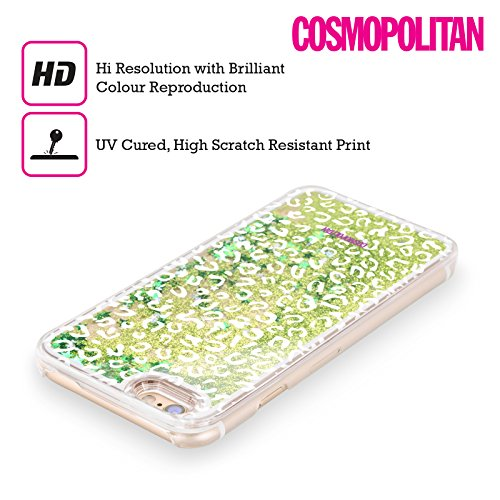 Official Cosmopolitan White Leopard Animal Skin Patterns Green Liquid Glitter Case Cover for Apple iPhone 6 / 6s