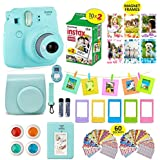 Fujifilm Instax Mini 9 ICE Blue Camera + 20 Instant Film Twin Pack, Instax Case + 14 PC Instax Accessories Bundle Kit. Includes; Albums, 4 Color Lenses, Selfie Lens, Frames + 60 Stickers by Shutter