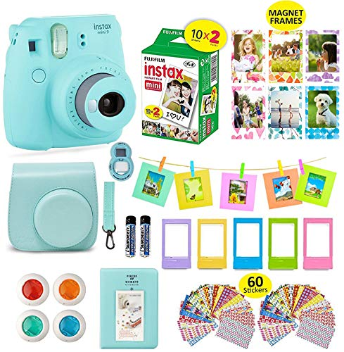 - Fujifilm Instax Mini 9 ICE Blue Camera + 20 Instant Film Twin Pack, Instax Case + 14 PC Instax Accessories Bundle Kit. Includes; Albums, 4 Color Lenses, Selfie Lens, Frames + 60 Stickers by Shutter