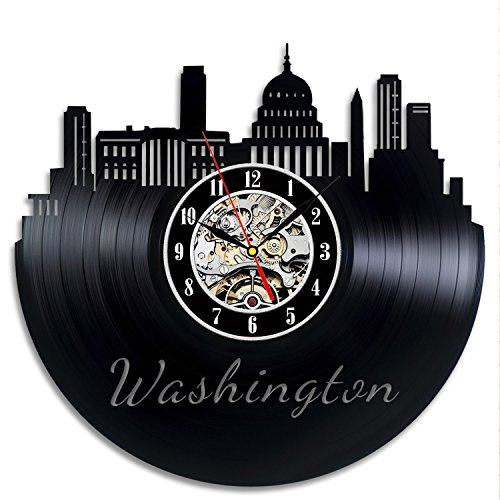 Washington Dc Souvenirs Vinyl Record Wall Clock – Decorate Your Home with Modern Art – Best Gift for Man, Woman, Boyfriend and Girlfriend