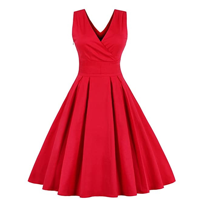 La mujer elegante vestido rojo Vintage Algodón elástico Plus Size M~4XL Fiesta Swing Prom