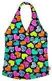 City Threads Little Girls Tankini Swimsuit for Girls Toddler Bathing Suit Rash Guard Halter Top for Beach Pool Swimwear, Hearts Splatter, 7