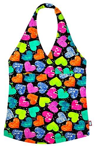 Splatter Heart - City Threads Little Girls Tankini Swimsuit for Girls Toddler Bathing Suit Rash Guard Halter Top for Beach Pool Swimwear, Hearts Splatter, 7