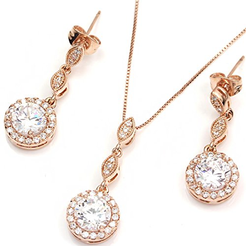 FC-JORY-White-Rose-Gold-Plated-Diamante-Crystal-CZ-Round-Necklace-Earring-Studs-Jewelry-Set