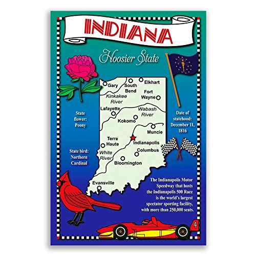 INDIANA STATE MAP postcard set of 20 identical postcards. Post cards with IN map and state symbols. Made in USA. Indiana Postcard