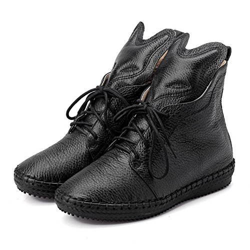 AmoonyFashion Womens Round-Toe Closed-Toe Low-Heels Boots With Platform and Slipping Sole Black VCrbEnfQ7