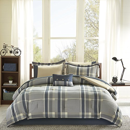 Intelligent Design Robbie Full Size Bed Comforter Set Bed in A Bag - Blue Navy, Plaid - 9 Pieces Bedding Sets - Ultra Soft Microfiber Bedroom - Bed Comforters Plaid