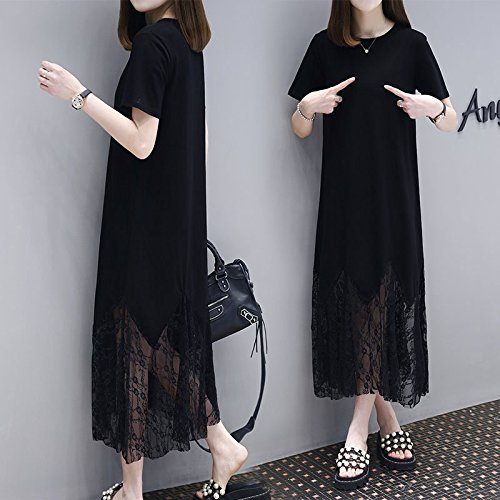 Nouvelle Y Jupe Taille T Dentelle 2018 S Robes Longueur Longue Grande l'usure MiGMV Moyenne Shirt Robe de Black d't en gTqwIx1nO