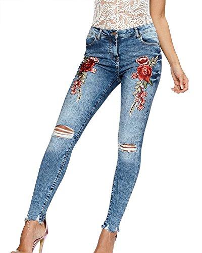 A Matita Ricamo Donna Strappati Simmetria Xhblu Jeans Rose Elasticità x1E7qwR6